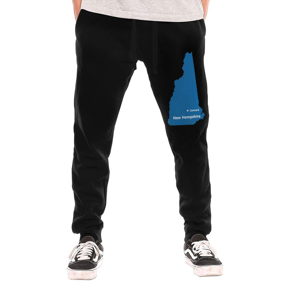 AucCen Mens New Hampshire Map Active Basic Jogger Cotton Pants