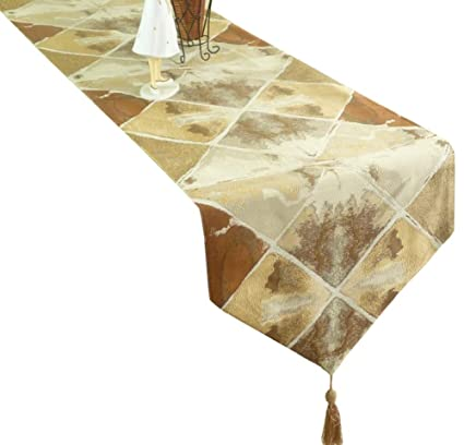 Attrayant LivebyCare Multi Size Retro Style Gemetric Spliced Patch Table Runners With  Tassels Rustic Fall Table