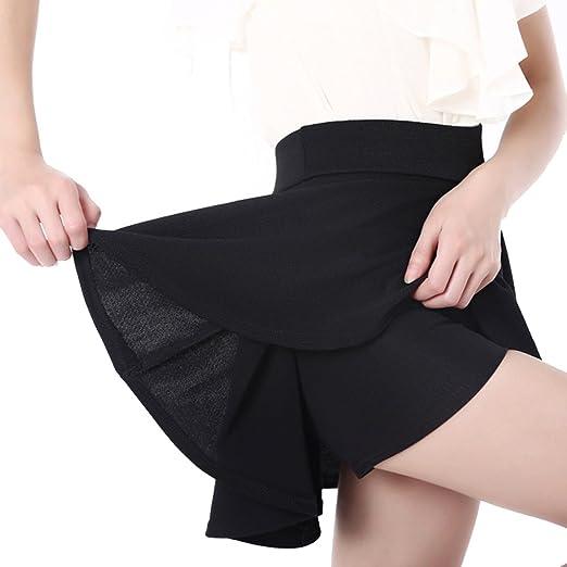 SaiDeng Mujer Puro Color Alto Cintura Corto Falda Tutu Negro M ...