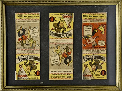 1936 - Big Chief Wahoo Chewing Gum - 3 Wrappers Framed - Series of 9 Comics - #2 & 8 - Very Rare - Collectible (Chewing Gum Wrapper)