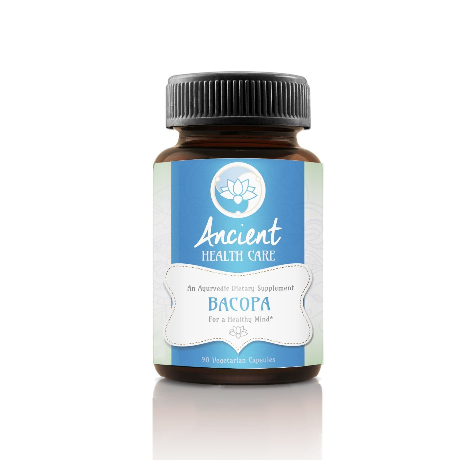 Ancient Health Care Premium Bacopa (Brahmi) Natural Mental Performance Nootropic - Supports Memory, Focus, Clarity and Lowers Stress - 100 mg - 90 Veggie Capsules - 20% Bascosides - Made in USA
