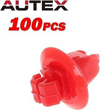 100PCS Red Push-Type Bumper Clip Nylon Retainer Fastener 90904-67037 For Toyota