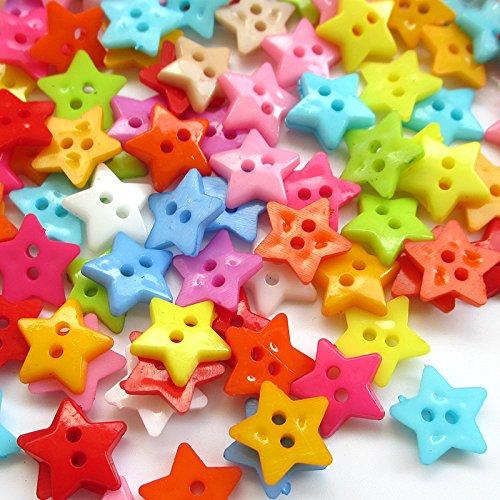 200pcs 10mm Mini Plastic Star Button 2Holes Craft Clothe Sewing Wholesale
