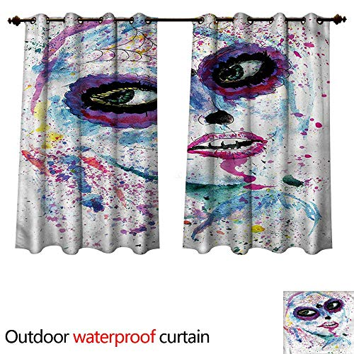 cobeDecor Girls Outdoor Ultraviolet Protective Curtains Halloween Lady Make Up W63 x L63(160cm x 160cm) -