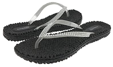 18c66f955 Capelli New York Transparent Jelly Thong with Rhinestone Trim Ladies Flip  Flop Black 6
