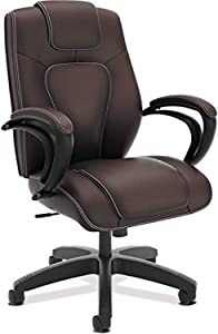 HON Managerial Office Chair- High-Back Computer Desk Chair with Loop Arms , Brown (VL402)