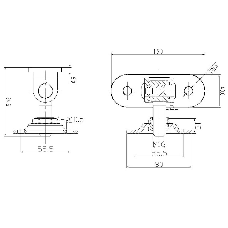Bisagra para puerta 2 unidades, M16, con 2 placas de fijaci/ón ajustables
