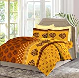 Bombay Dyeing Celiosa 120 TC Cotton Double Bedsheet with 2 Pillow Covers - Brown