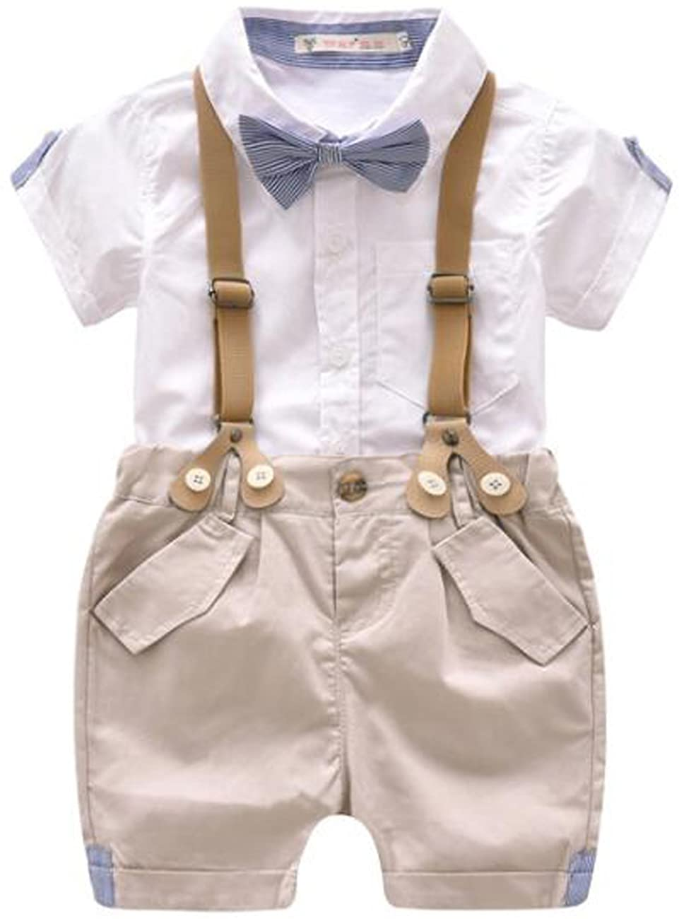 Baby Boys Kids Summer Short Sleeve Print T-Shirt With Bow Tie Shorts Set Clothes