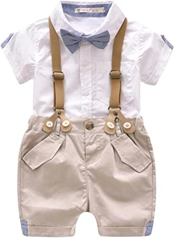 Happy Cherry Baby Boy Outfits Set 3pcs Long Sleeves Gentleman Jumpsuit Bow Tie