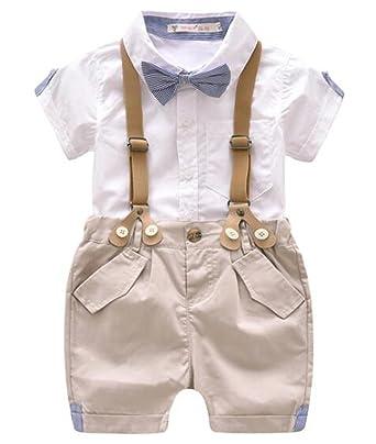Amazon Com Egelexy Toddler Baby Boys Gentleman Outfits Short Sleeve