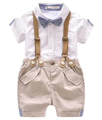 7566fd4179bd EGELEXY Toddler Baby Boys Gentleman Outfits Short Sleeve T-Shirt+Bib Pants+ Bow