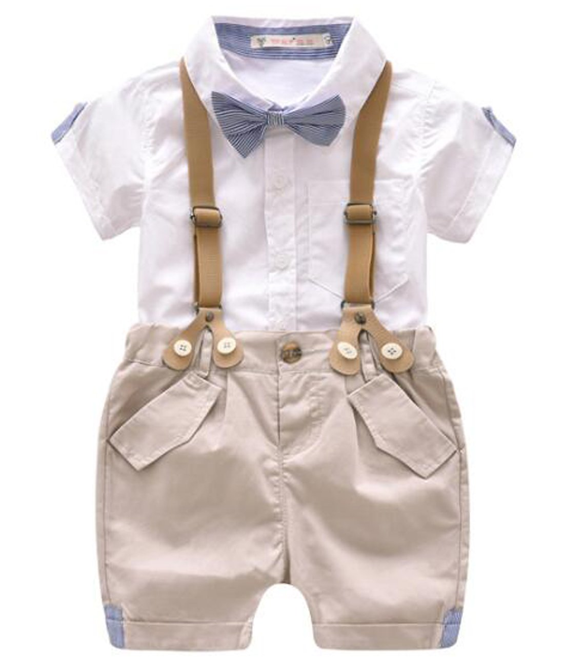 FAYALEQ Baby Boys Cotton Gentleman Bowtie Short Sleeve Shirt+Overalls Shorts Outfits Set Size 9-12 Months (White)