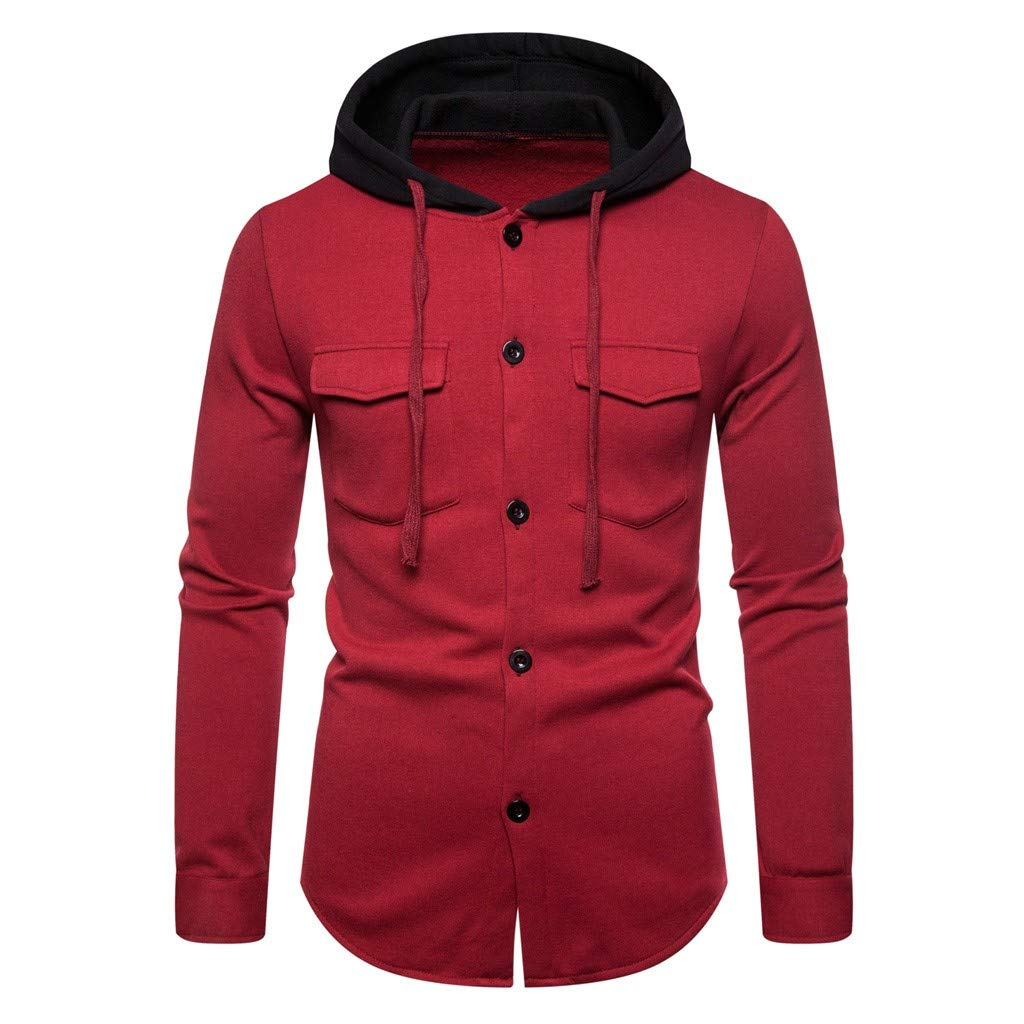 Tigivemen Men's Hoodie, Men Autum Winter Long Sleeve Hooded Sweatshirt Printed Outwear Tops Blouse Red by Tigivemen Tops