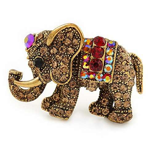 Vintage Inspired Small Topaz/ Red Crystal Elephant Brooch In Antique Gold Tone Metal - 35mm