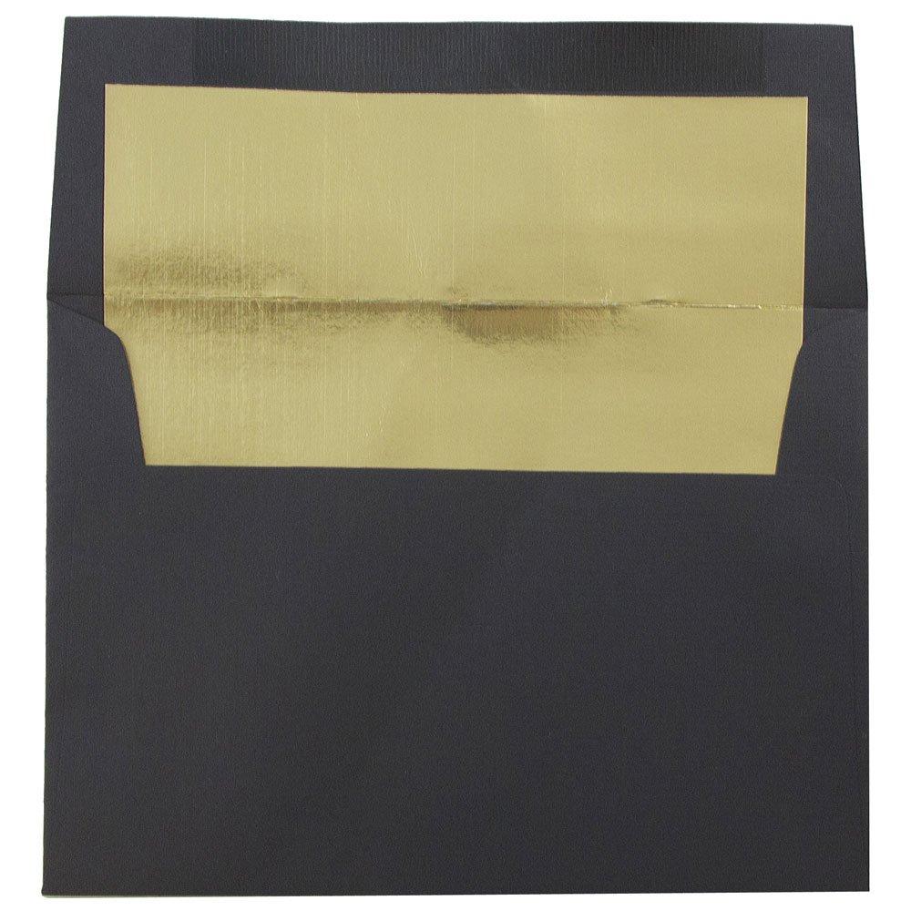 JAM PAPER A6 Foil Lined Invitation Envelopes - 4 3/4 x 6 1/2 - Black Linen with Gold Foil - 50/Pack