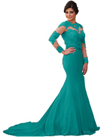 27ba2c81d Amazon.com: Promworld Women's Mermaid Evening Gowns Long Sleeve Mother of  The Bride Dresses Turquoise US14: Clothing