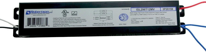 50-60Hz Normal Ballast Factor Instant Start ROBERTSON 3P20158 ISL296T12MV Fluorescent Electronic Ballast for 2 F96T12 Linear Lamps HPF 120-277Vac