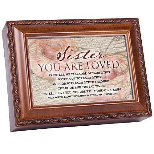 Sister You Are Loved Woodgrain Rope Trim Music Box Plays Amazing Grace (Box Precious Music Daughter)