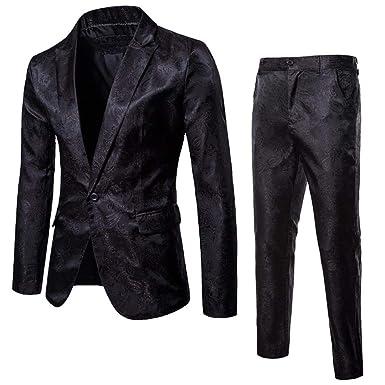 QXPORV Suit Blazer Jacket Traje de Solapa para Hombre, de un botón ...