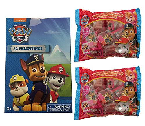 (Valentine Nickelodeon Classroom Exchange Set for 30 with Valentines and Gummy Candy (Paw)