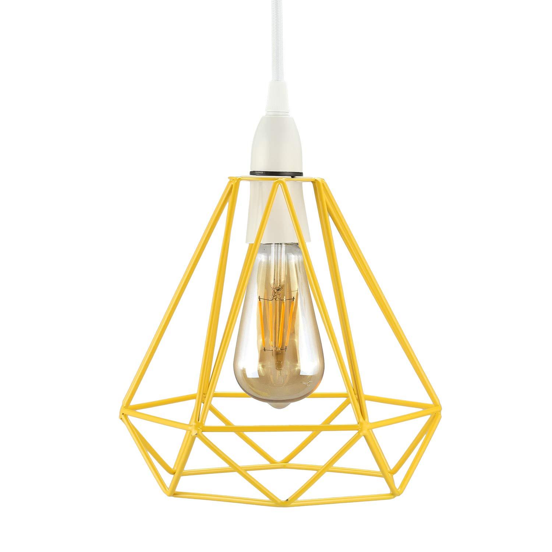 Frideko Vintage Pendant Light, Retro Industrial Metal Bird Cage Light Fitting for Loft Restaurant Coffee Bar (Rose Gold)