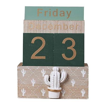 Calendario perpetuo de madera, vintage Bloque de madera Calendario ...