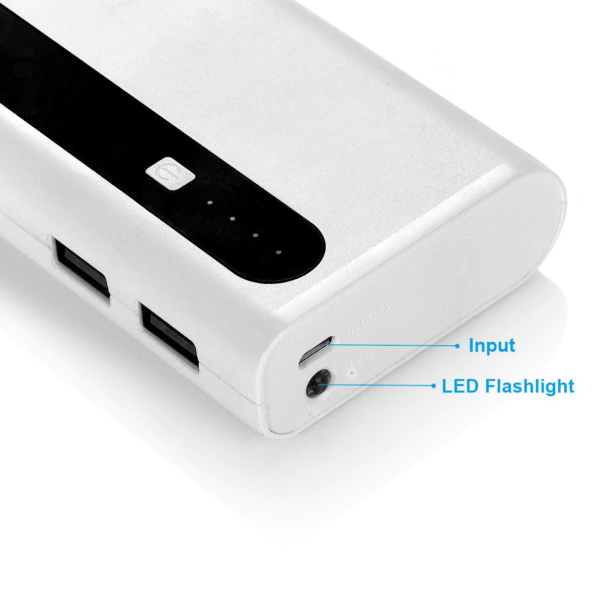 Aibocn Slim Power Bank 10000mAh, USB Portable Charger Compact 10000 Power Pack with Flashlight, Dual USB Ports External Battery Pack for Mobile Phones and Tablet