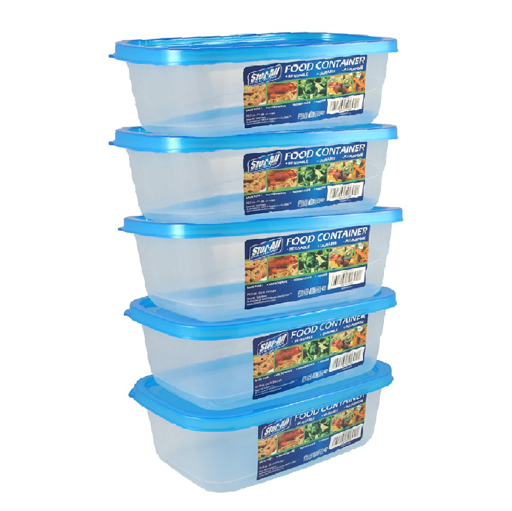 Stor-All Solutions Everyday Food Containers Rectangle Storage Set, 5 Pack, Clear, 5 Piece
