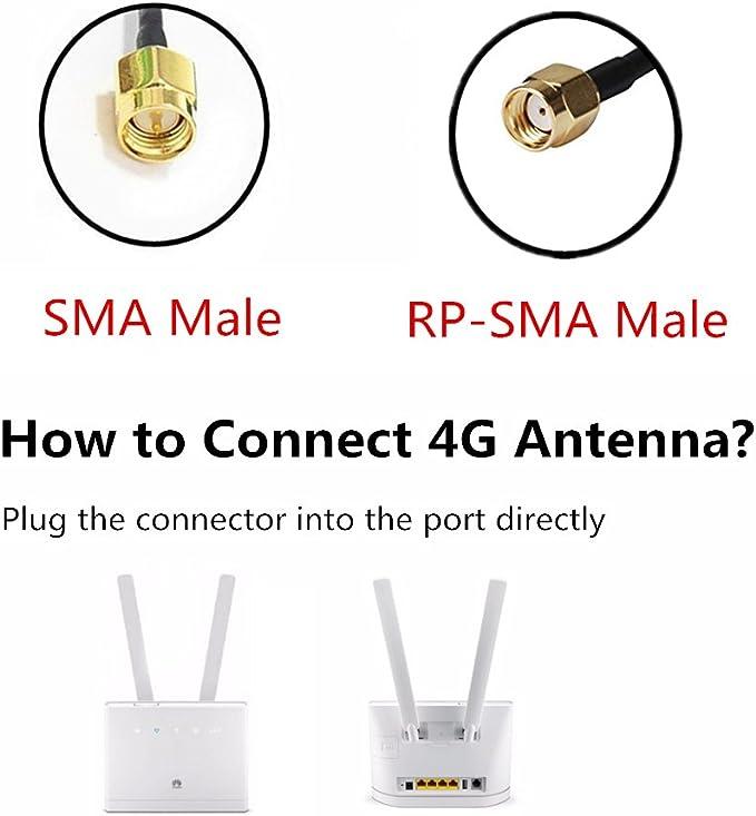 Gadgets Mixto SMA 10dBi gsm Antena de Alto Rendimiento 4G LTE Amplificador de señal WiFi Amplificador Adaptador de módem Receptor de Red Receptor de ...
