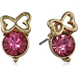 Betsey Johnson Iconic Pinkalious Crystal Stud Fuschia