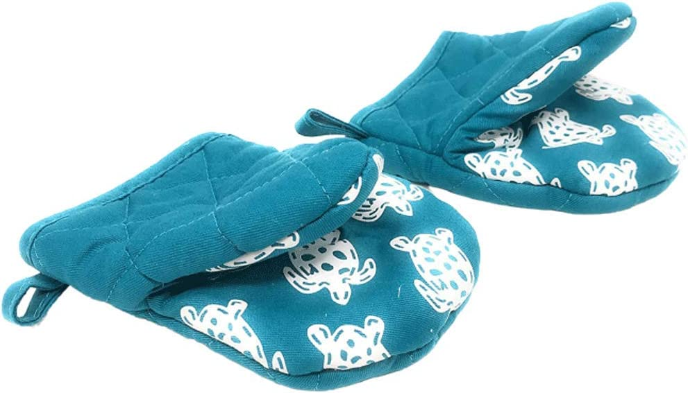 Northeast Home Goods Cotton Oven Mitt Mini Pot Gripper with Silicone Grip, Set of 2 (Teal with White Sea Turtles)