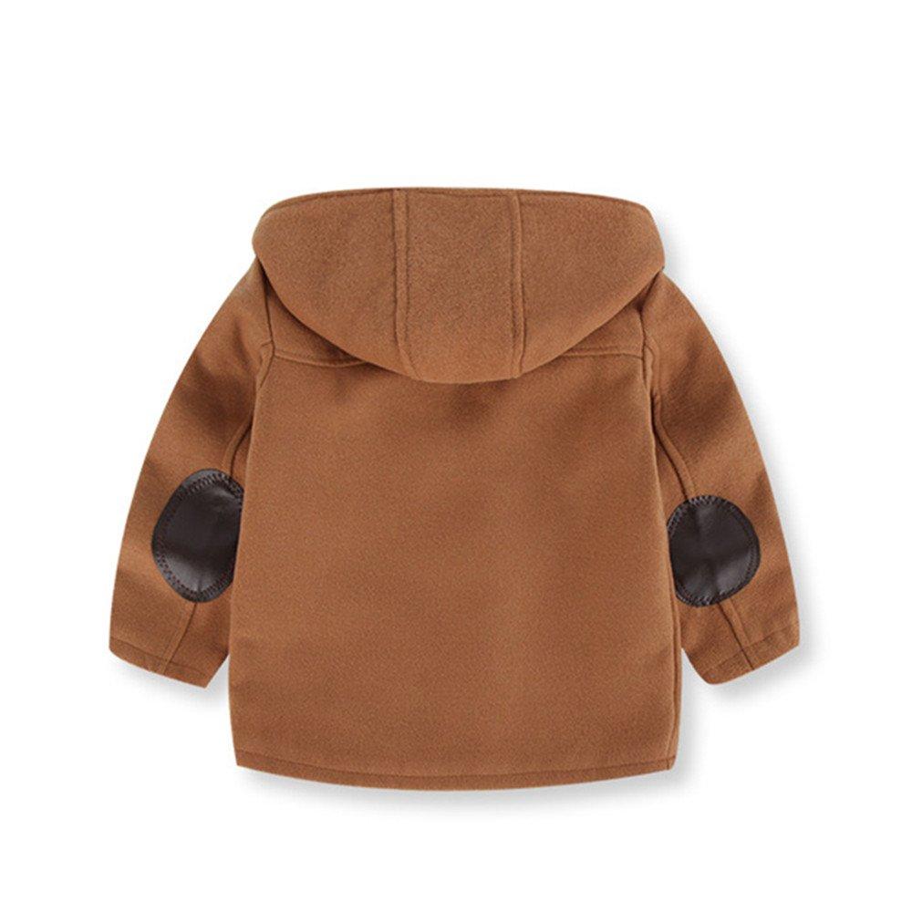 742e1b7ee Amazon.com: LJYH Boy's Wool Coat Toggle Hooded Jacket Kids Winter ...
