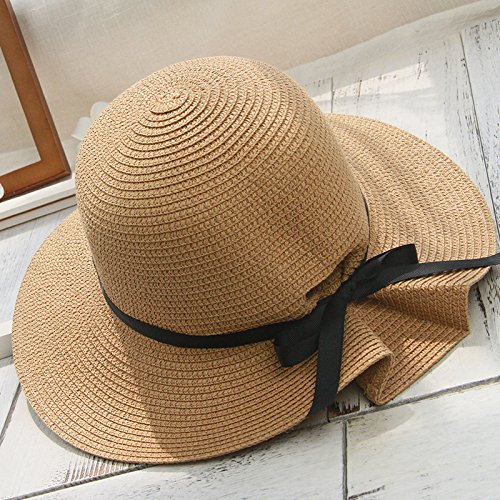YMFIE Summer seaside holiday straw hat sun cap can fold sunscreen sunshade beach cap,Light - Holiday Napkins Fold