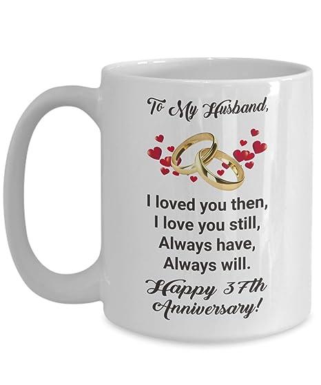 Amazoncom Happy 37th Anniversary Mug Gift Ideas For Husband Him