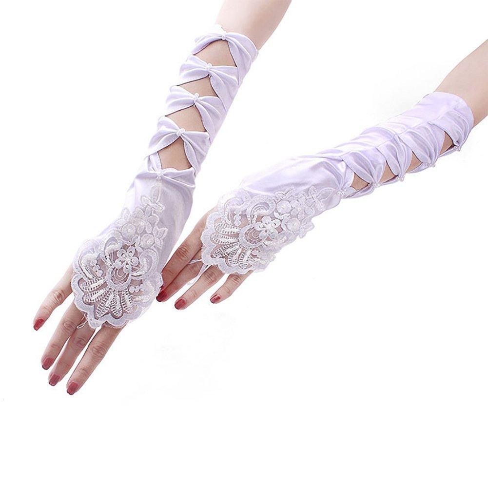 CHUANGLI Lady Fingerless Satin Lace Pearls Gloves Wedding Gathered Satin Fingerless Gloves