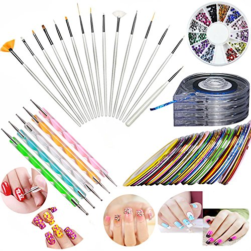 JOYJULY Nail Art Kit includes 30 Striping tape & 4Pcs Striping Roller Box & 12 Colors Rhinestones & 5pcs Dotting Pen & 15pcs Brush Set