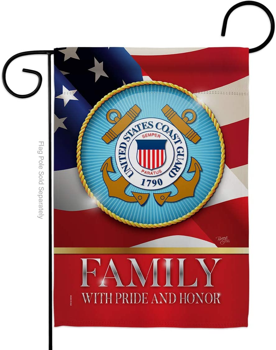 US Coast Guard Family Honor Garden Flag - Armed Forces USCG Semper Paratus United State American Military Veteran Retire Official - House Banner Small Yard Gift Double-Sided Made In USA 13 X 18.5