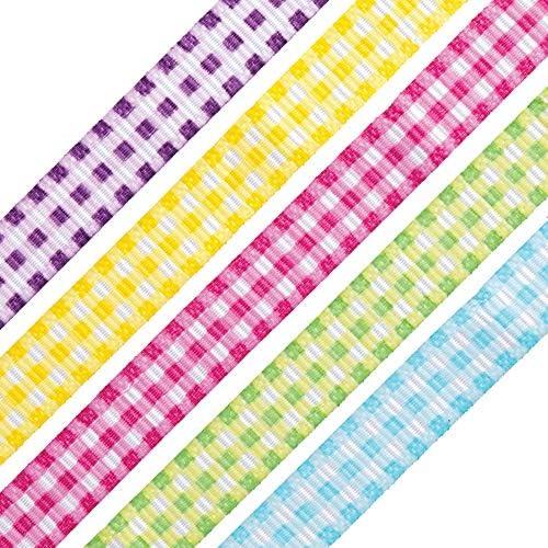 1-Inch, Black NOYI TRAXD Gingham Ribbon 25 Yard Each Roll 100/% Polyester Woven Edge