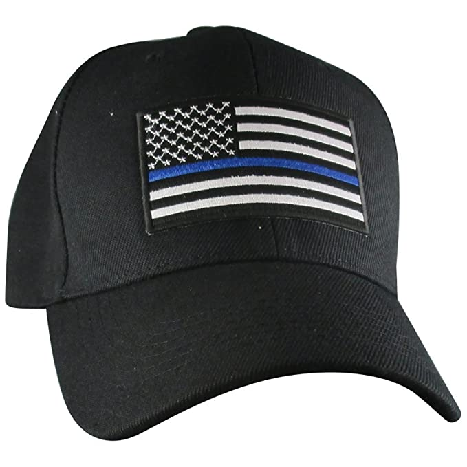 8523ec64 Amazon.com: AffinityAddOns Thin Blue Line USA Hat | Black Adjustable ...