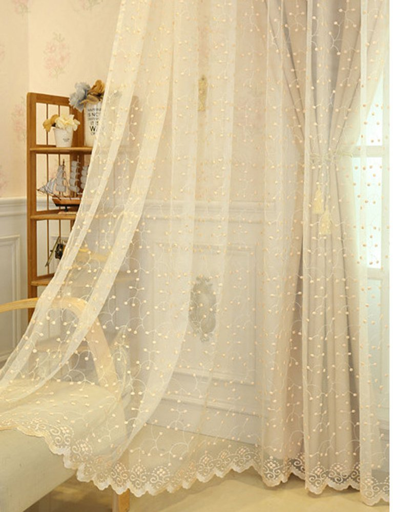 Aside Bside Transparent Window Decoration Rod Pocket Top Cherry Embroidered Pure Style Sheer Curtains For Sitting Room Kids Room and Kitchen (1 Panel, W 52 x L 104 inch, Beige)