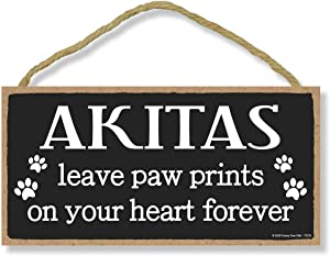 Honey Dew Gifts Akitas Leave Paw Prints, Wooden Pet Memorial Home Decor, Decorative Dog Bereavement Wall Sign, 5 Inches by 10 Inches