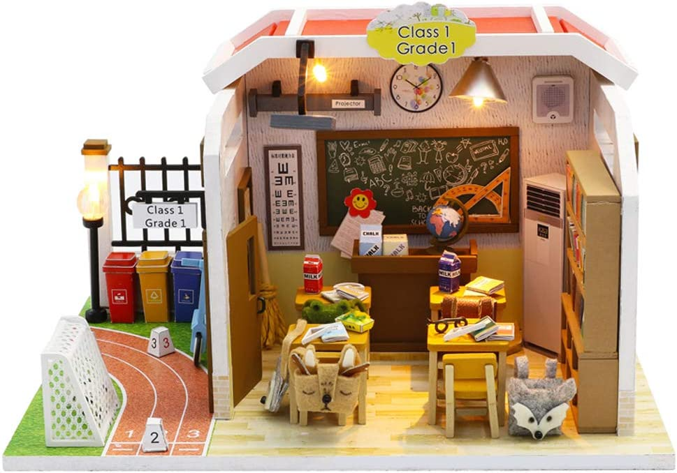Flever Dollhouse Miniature DIY House Kit Creative Room with Furniture for Romantic Valentine's Gift(My Dear Deskmate)