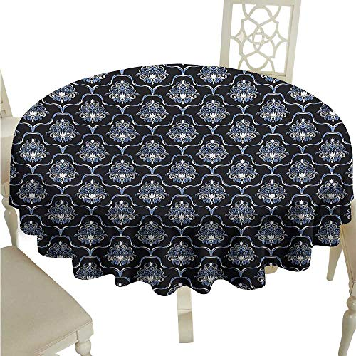 Blue Tablecloths Permalux - longbuyer Round Tablecloth Plastic Dark Blue,Vintage Royal Damask Motifs Swirls Curvy Tile Victorian Fashion,Dark Blue Pale Blue White D60,for Umbrella Table