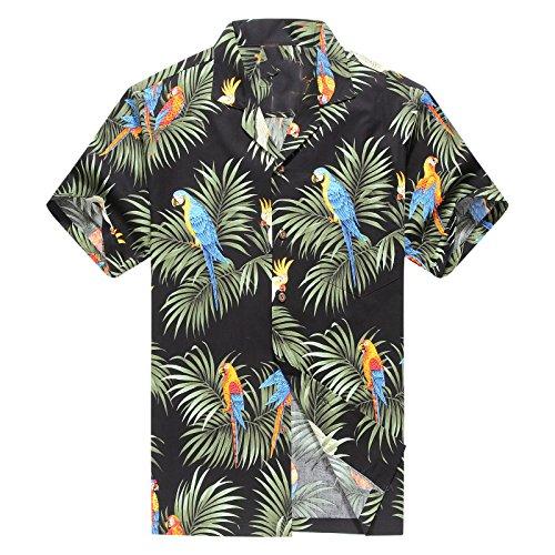 Realizzato in Hawaii Camicia Hawaiiana Uomo Camicia Aloha Pappagalli e Foglie in Nero
