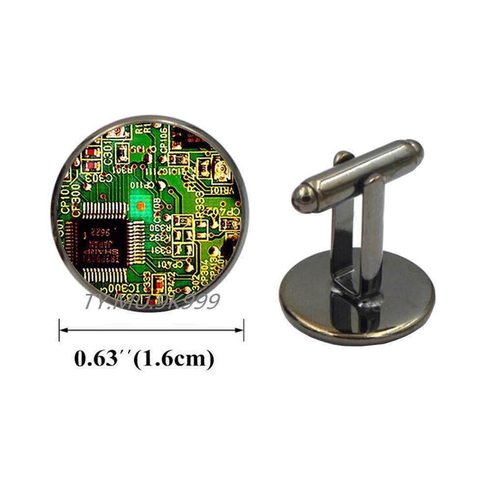 Yao0dianxku Circuit Board Cuff Links.Printed Circuit Board Electronic Cufflinks.PCB Computer Board Jewelry, Y011