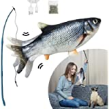 Electric Dancing Fish Cat Catnip Toy, Realistic Moving Cat Kicker Fish, Funny Pets Pillow Chew Bite Kick Supplies for…
