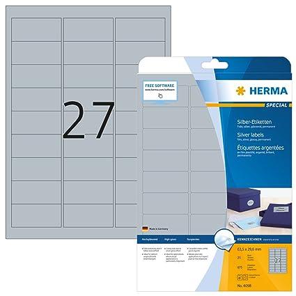 96 x 50,8 mm HERMA Typenschild-Etiketten SPECIAL silber