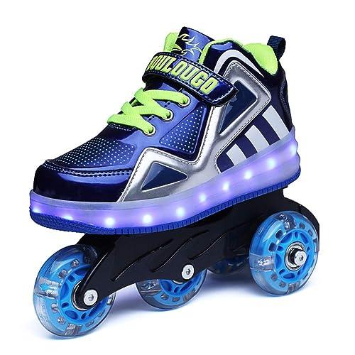 Axcer Luces LED Zapatos de Skate con Ruedas Removable Brillante Calzado de Skateboarding Deportes de Exterior Roller Patín Profesionales Fancy Straight ...