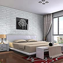 "yazi White Bricks Textured Self Adhesive Wallpaper Roll for Livingroom Bedroom Wall Decoration 17.7""x393.7"""
